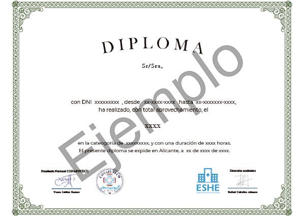 Parte delantera del certificado