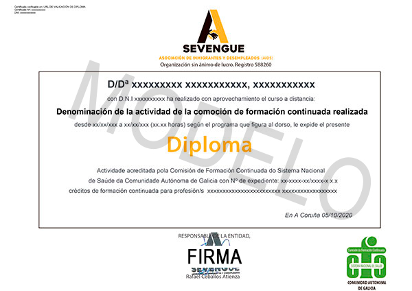 Parte delantera del diploma de la Comisión de Formación Continuada
